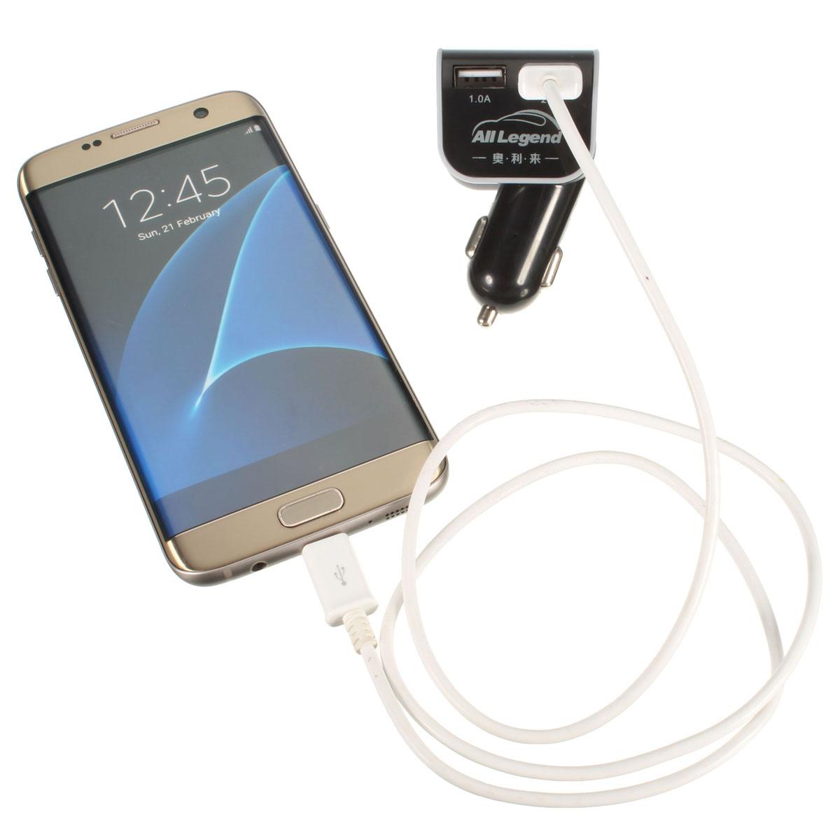 Зарядные устройства Адаптер автомобильного зарядного устройства на 2 USB порта 1.0A / 2.1A для смартфонов (Фото 1)