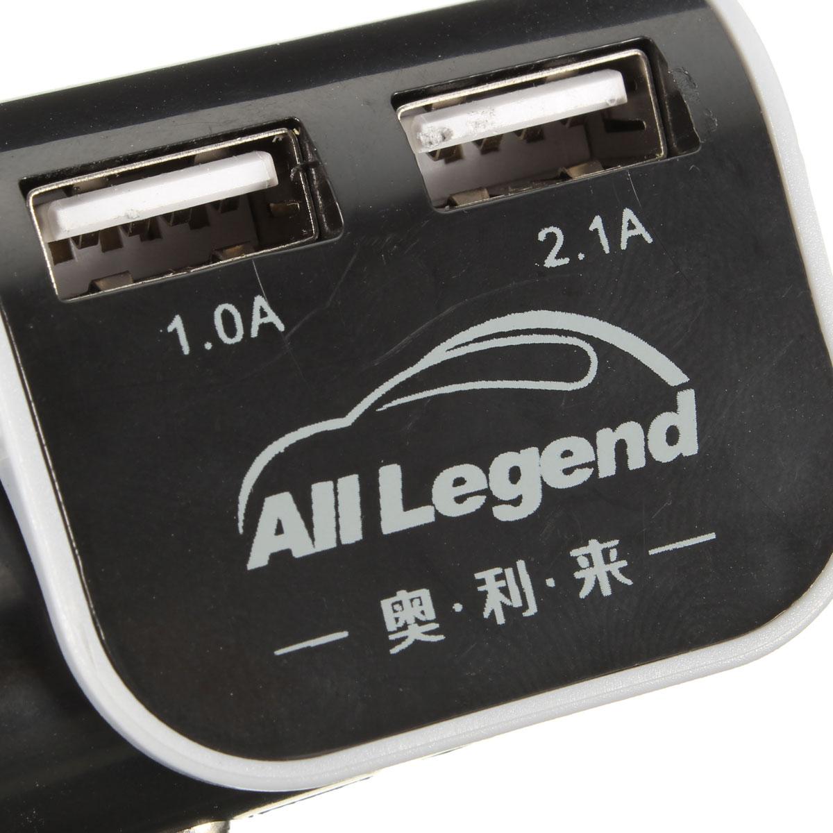 Зарядные устройства Адаптер автомобильного зарядного устройства на 2 USB порта 1.0A / 2.1A для смартфонов (Фото 3)