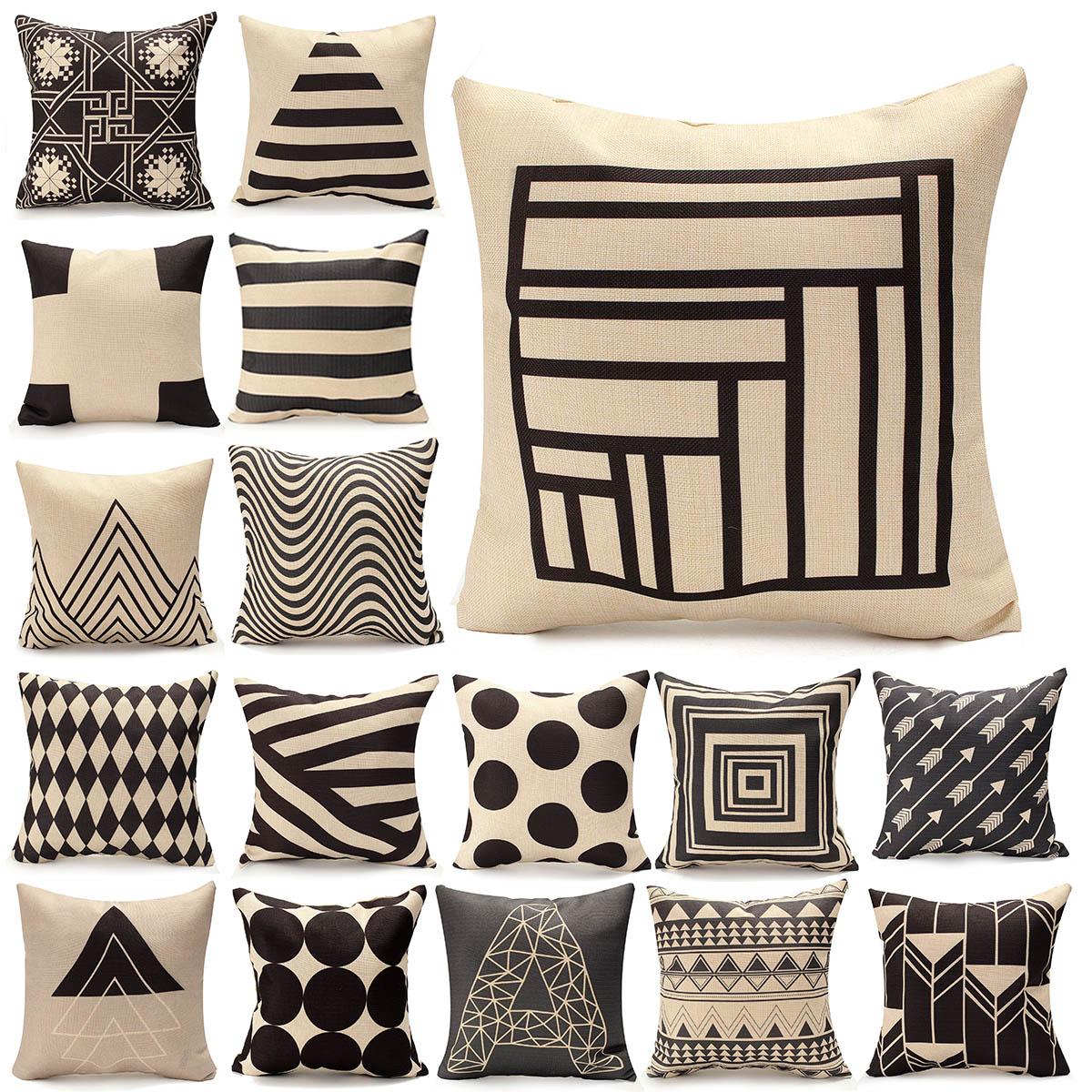 Vintage Geometry Black White Cotton Throw Cushion Cover