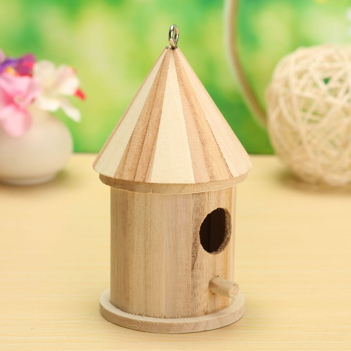New wooden bird house birdhouse hanging nest nesting box for Bird home decor