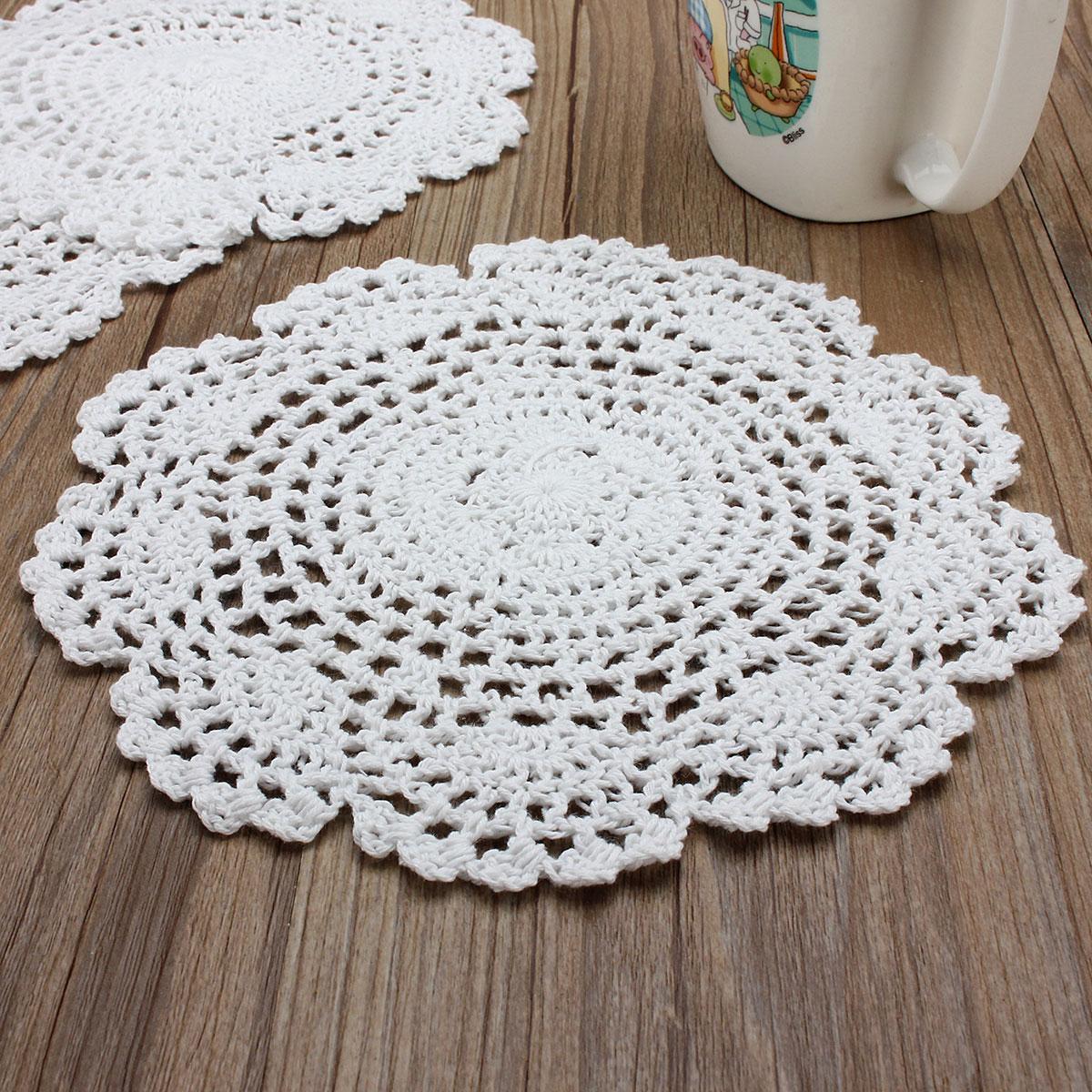 Lot De 3 Napperon 20cm Blanc Dentelle Au Crochet Achat Vente Nappe De Table Jetable Soldes