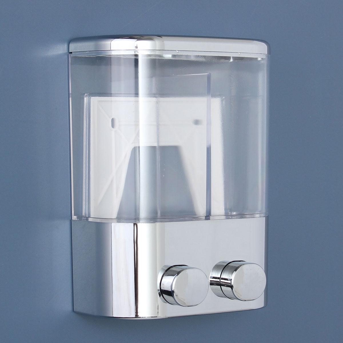 Shower Soap Dispenser ~ Double wall mount soap shampoo shower gel dispenser liquid