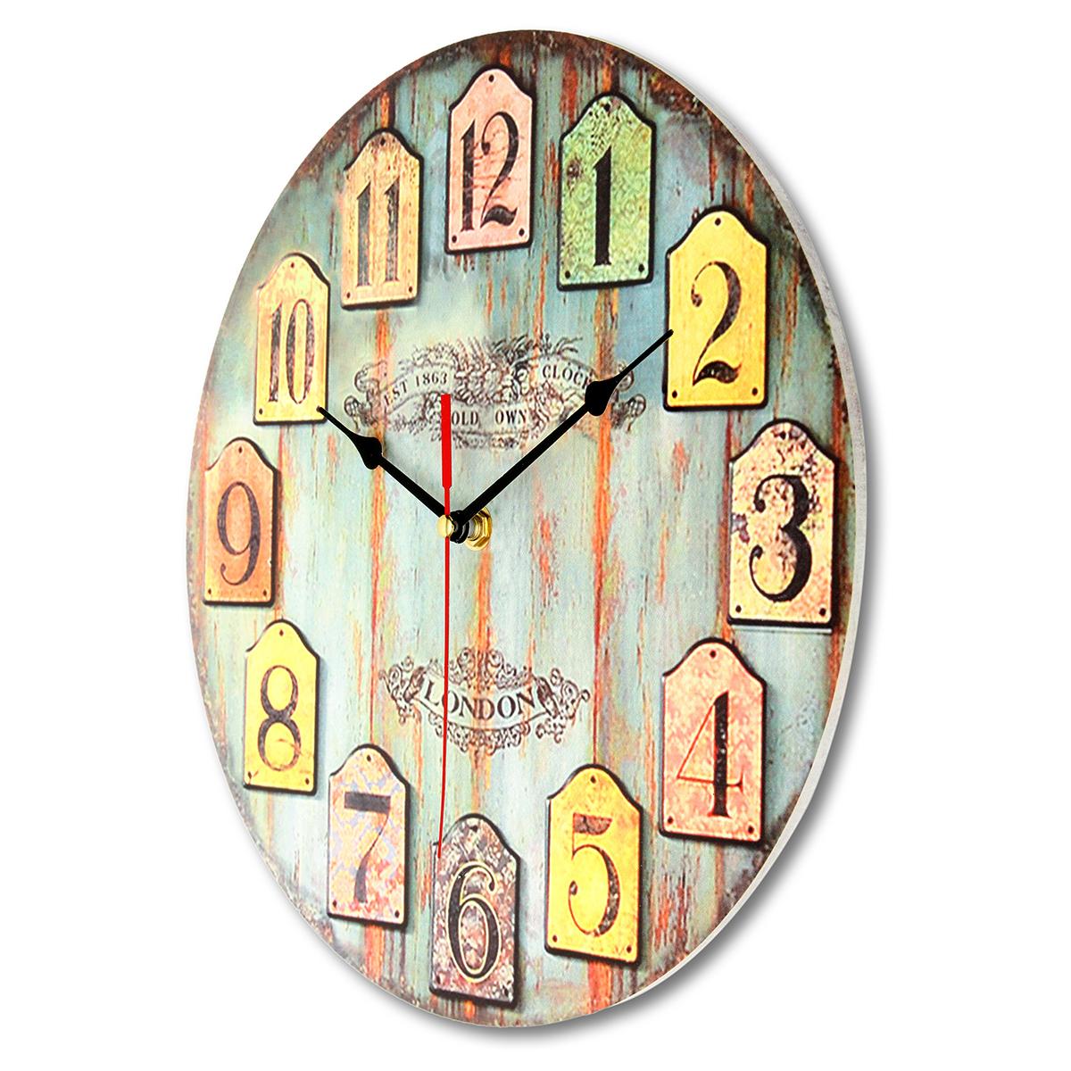 Retro Kitchen Wall Clocks Diy Large Wooden Wall Clock Home Decor Shabby Chic Rustic Retro