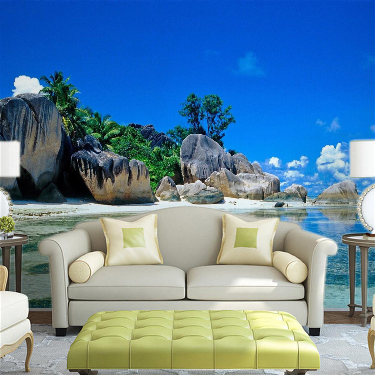 3d Beach Sea Bule Sky Wallpaper Living Room Mural