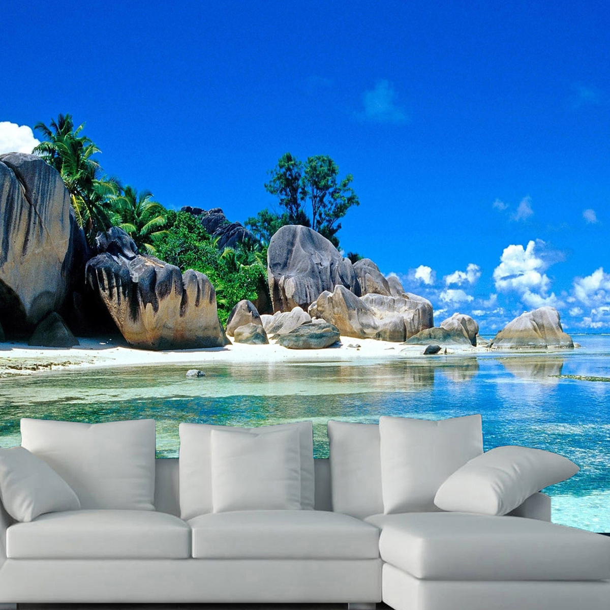 3d beach sea bule sky wallpaper living room mural for Beach wall mural sticker