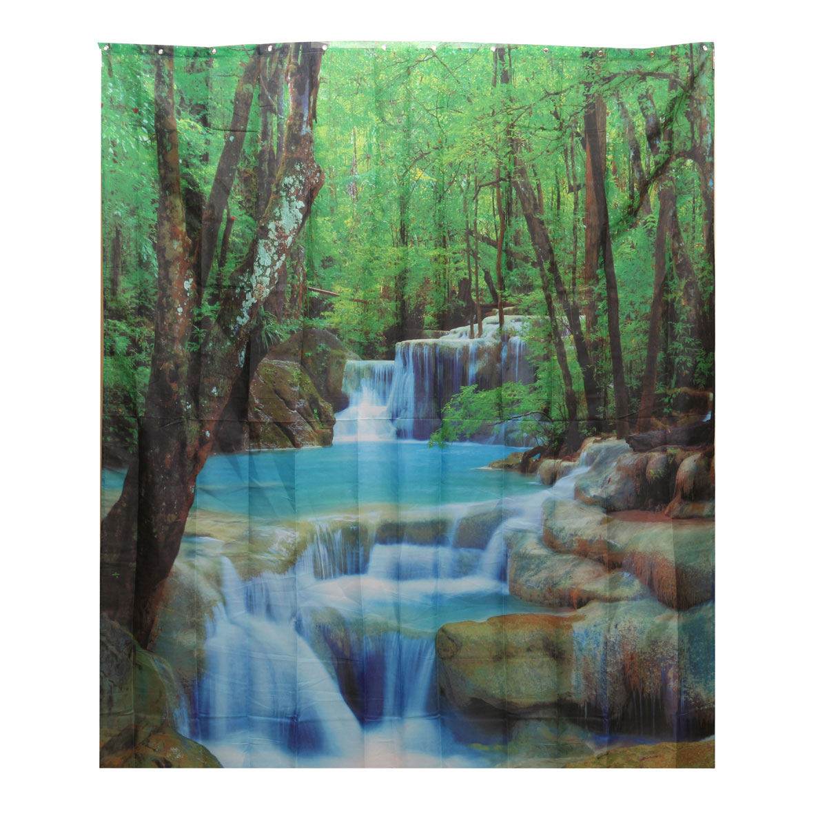 3d waterfalls nature scenery fabric bathroom shower for Nature inspired shower curtains