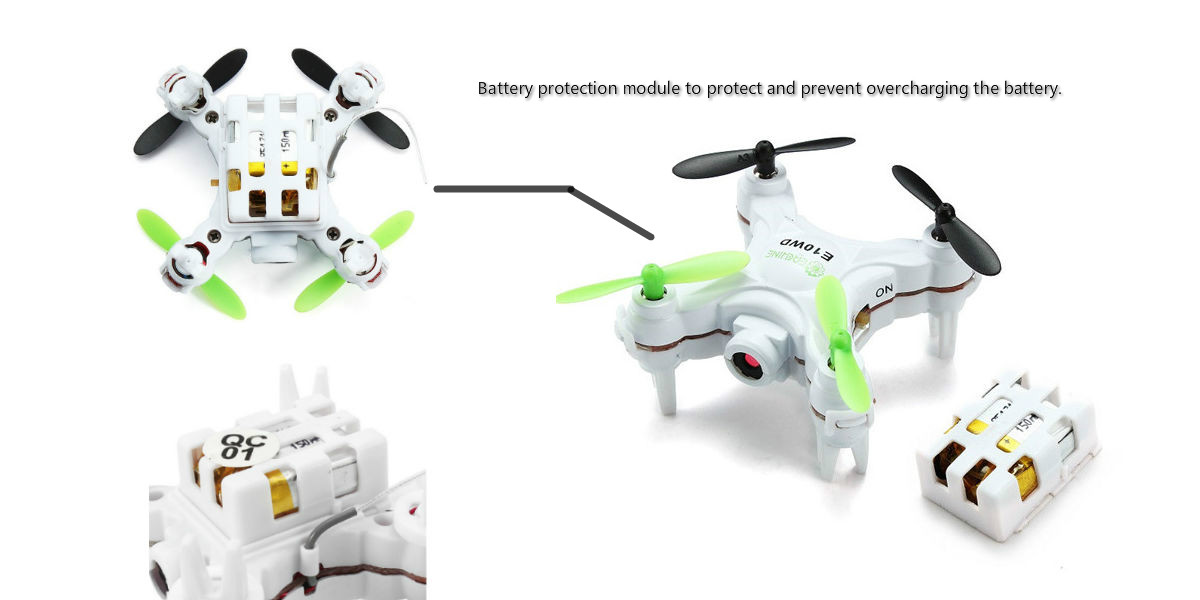 EACHINE E10WD Mini Wifi FPV Quadcopter with Camera 2.4G 4CH 6-axis Altitude Mode RC Nano Quadcopter Drone RTF Mode 2
