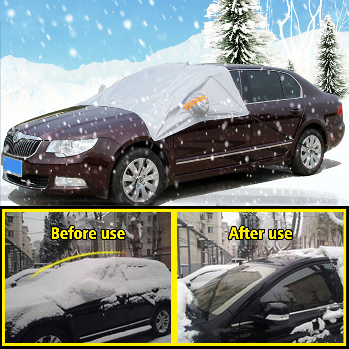 AUDEW Windshield Snow Cover Car Snow Cover for Automobiles Frost Ice Guard Design Protects Windshield Wiper and Mirror with hooks Fixed Four Wheels & Reflective Warning Bar Universal for Cars, SUVs
