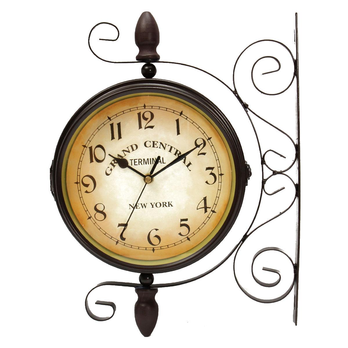 horloge murale pendule double face cadran fer int rieur ext rieur wall clock achat vente. Black Bedroom Furniture Sets. Home Design Ideas