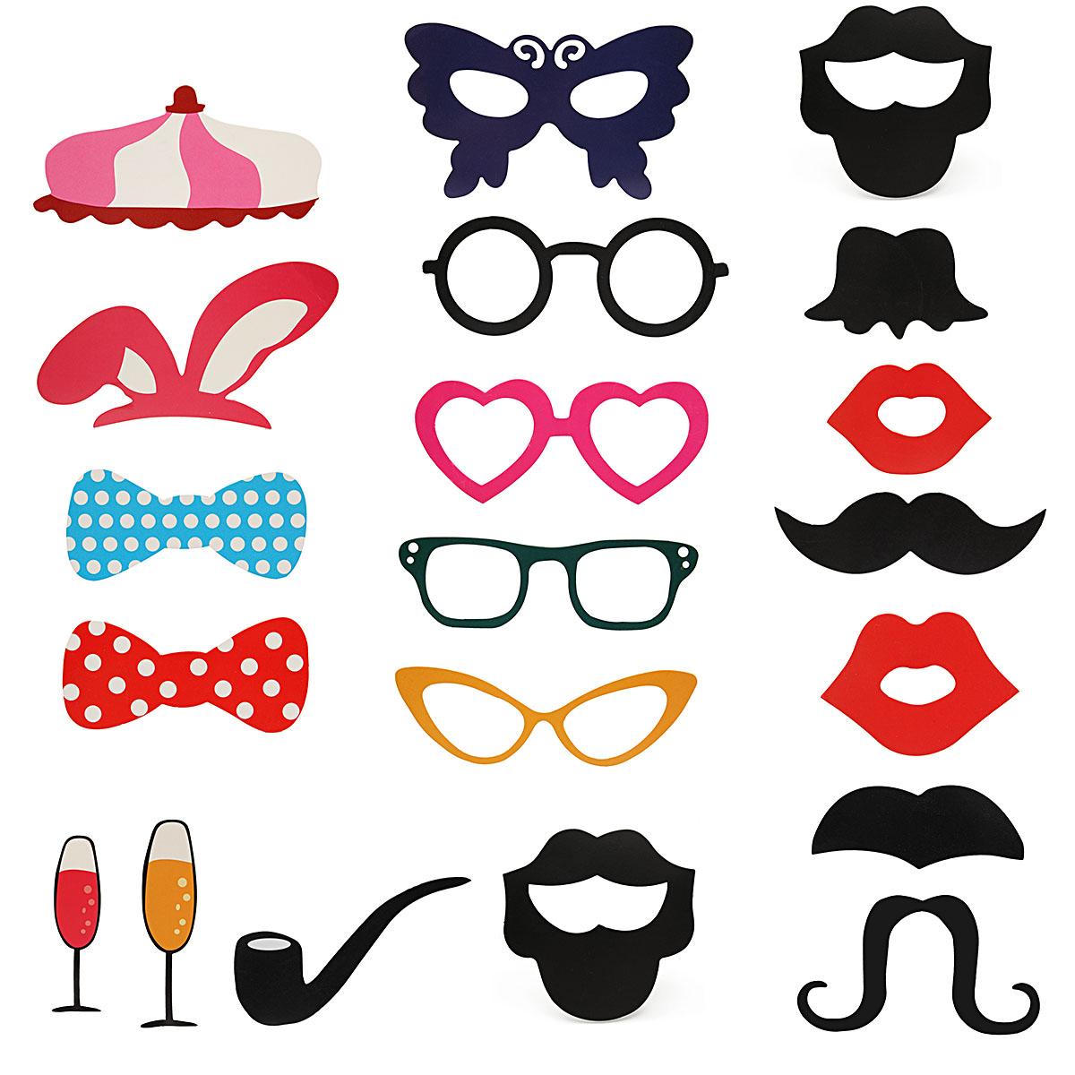 31pcs d guisement f te mariage masque moustache. Black Bedroom Furniture Sets. Home Design Ideas