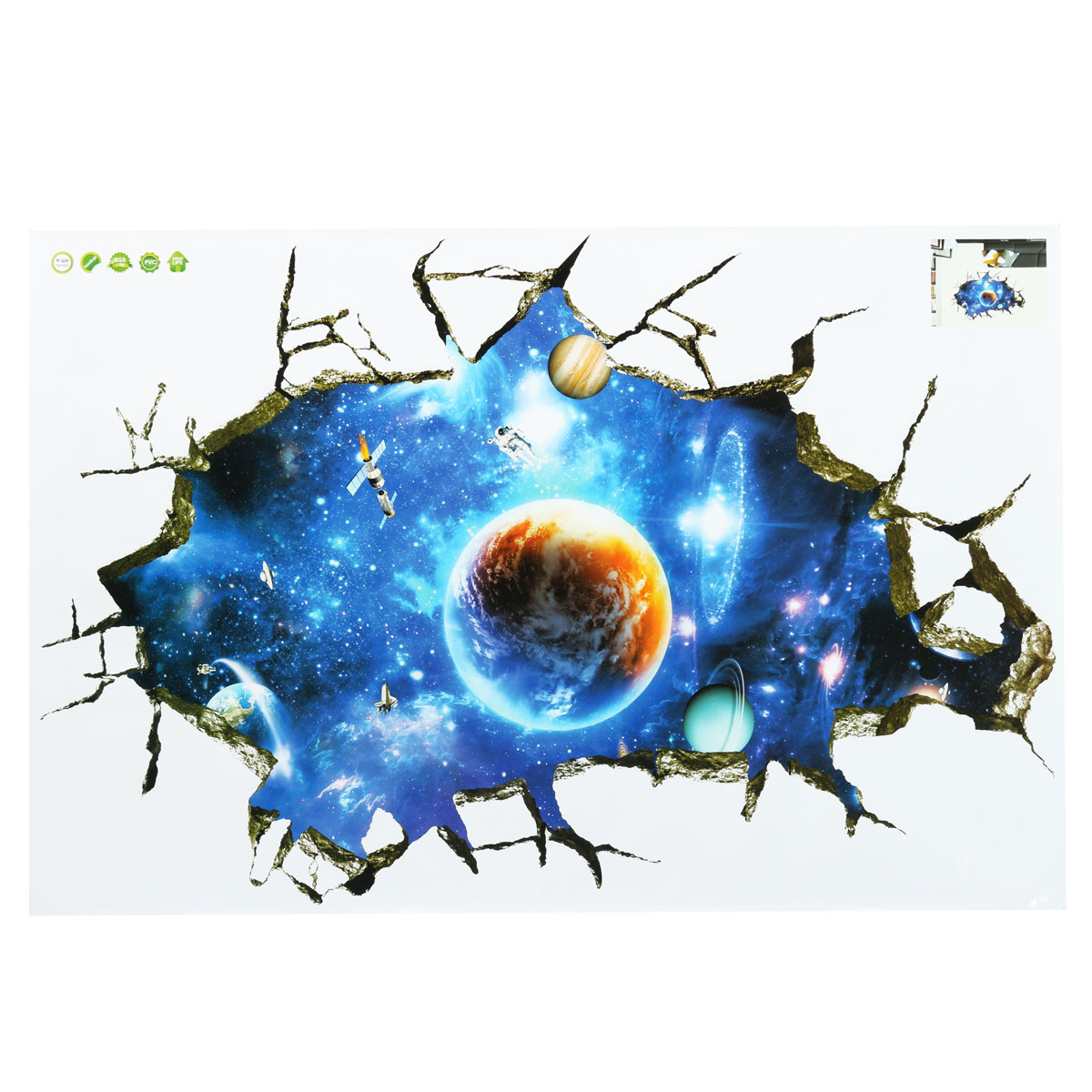 3d outer space galaxy wall sticker home kid decor mural for Outer space 3d model