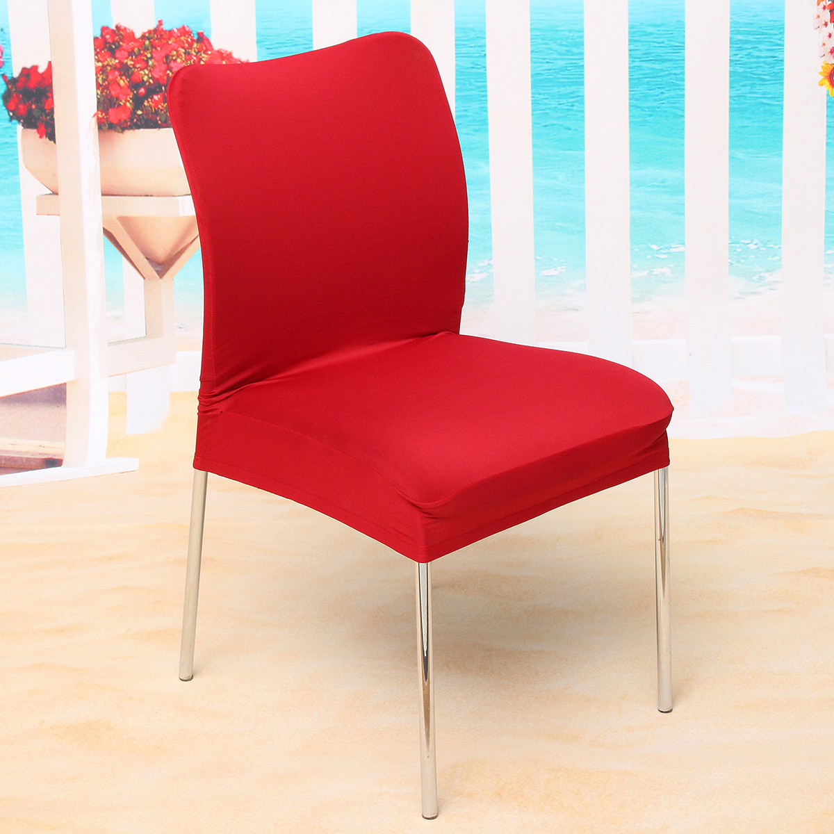 Stretch soft stool seat chair cover removable dining room for 4 dining room chair covers