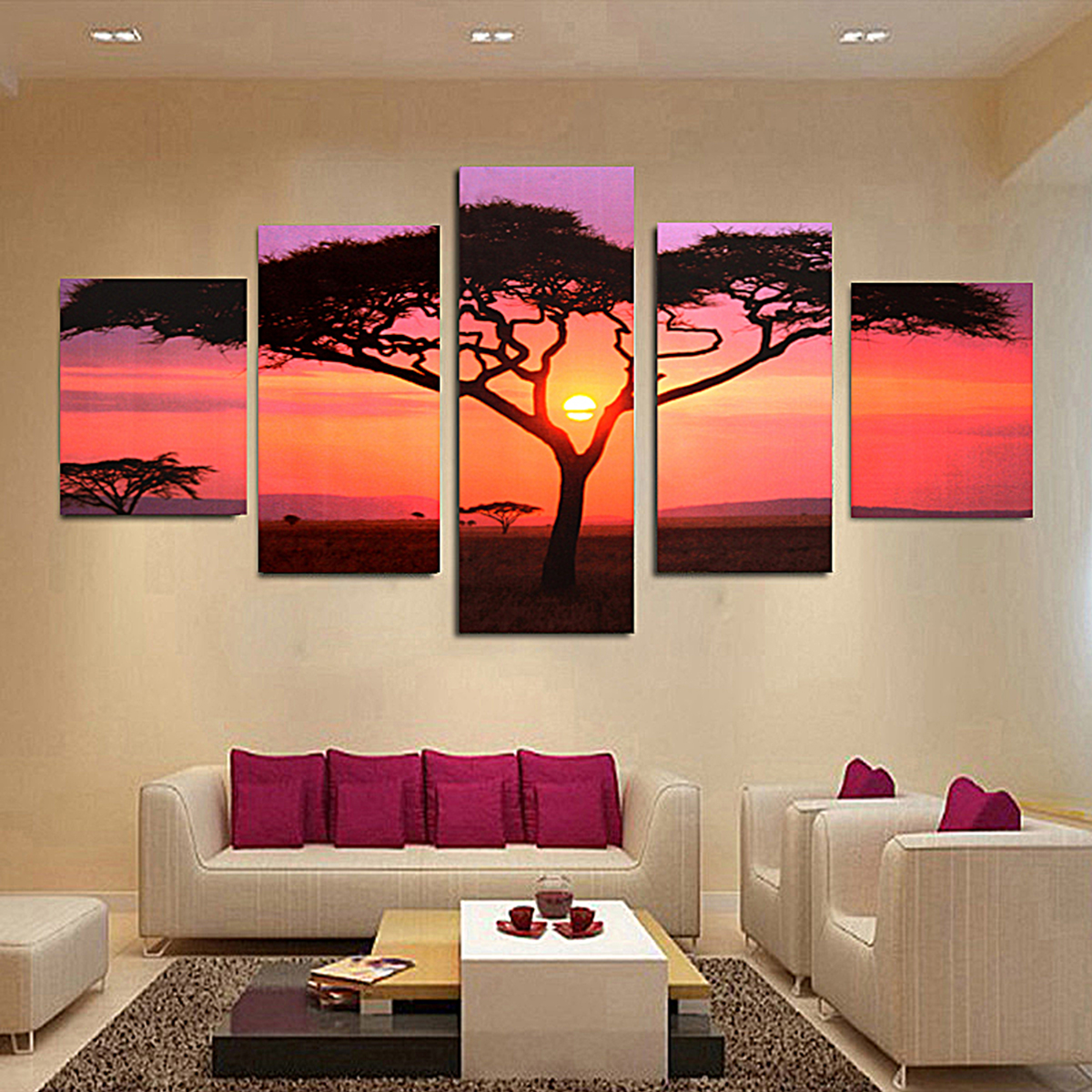 5pcs arbre tableau peinture huile toile abstraite pr mural salon chambre d cor achat vente. Black Bedroom Furniture Sets. Home Design Ideas