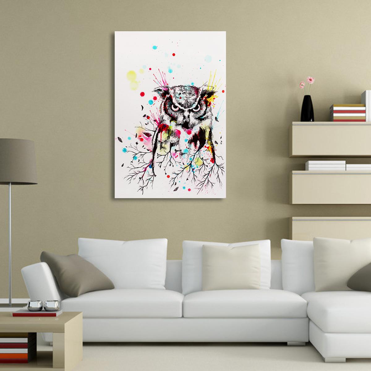 tableau peinture l 39 huile toile chouette art moderne d cor mural salon chambre achat vente. Black Bedroom Furniture Sets. Home Design Ideas