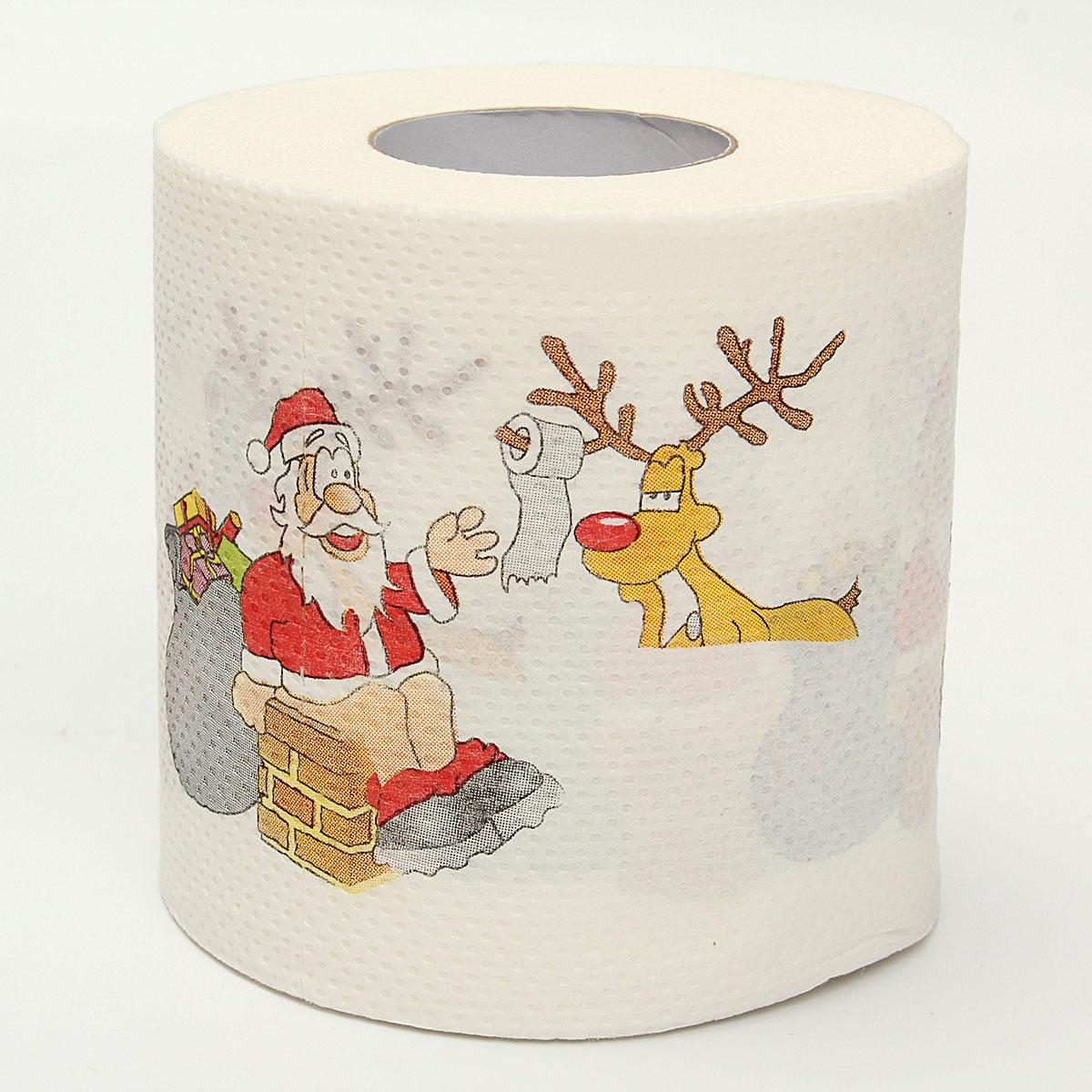 Dr le serviette papier toilette rouleaux deux couches p re no l impression achat vente - Pere noel rouleau papier wc ...