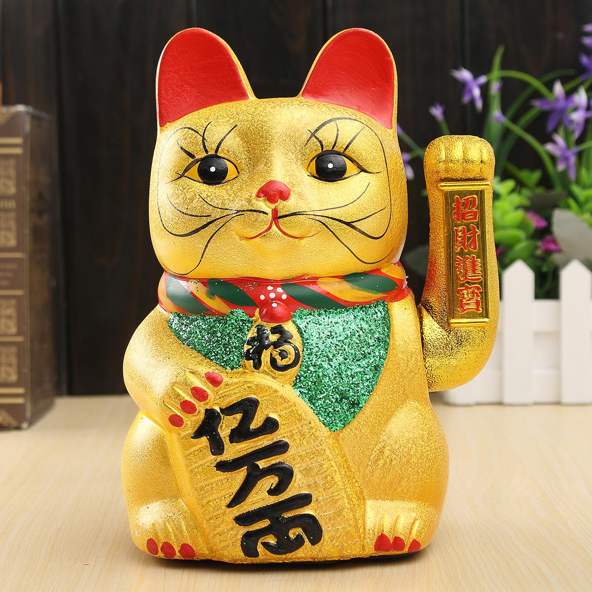 c ramique chinois chanceux agitant porte bonheur maneki neko chat figurine 21cm achat vente. Black Bedroom Furniture Sets. Home Design Ideas