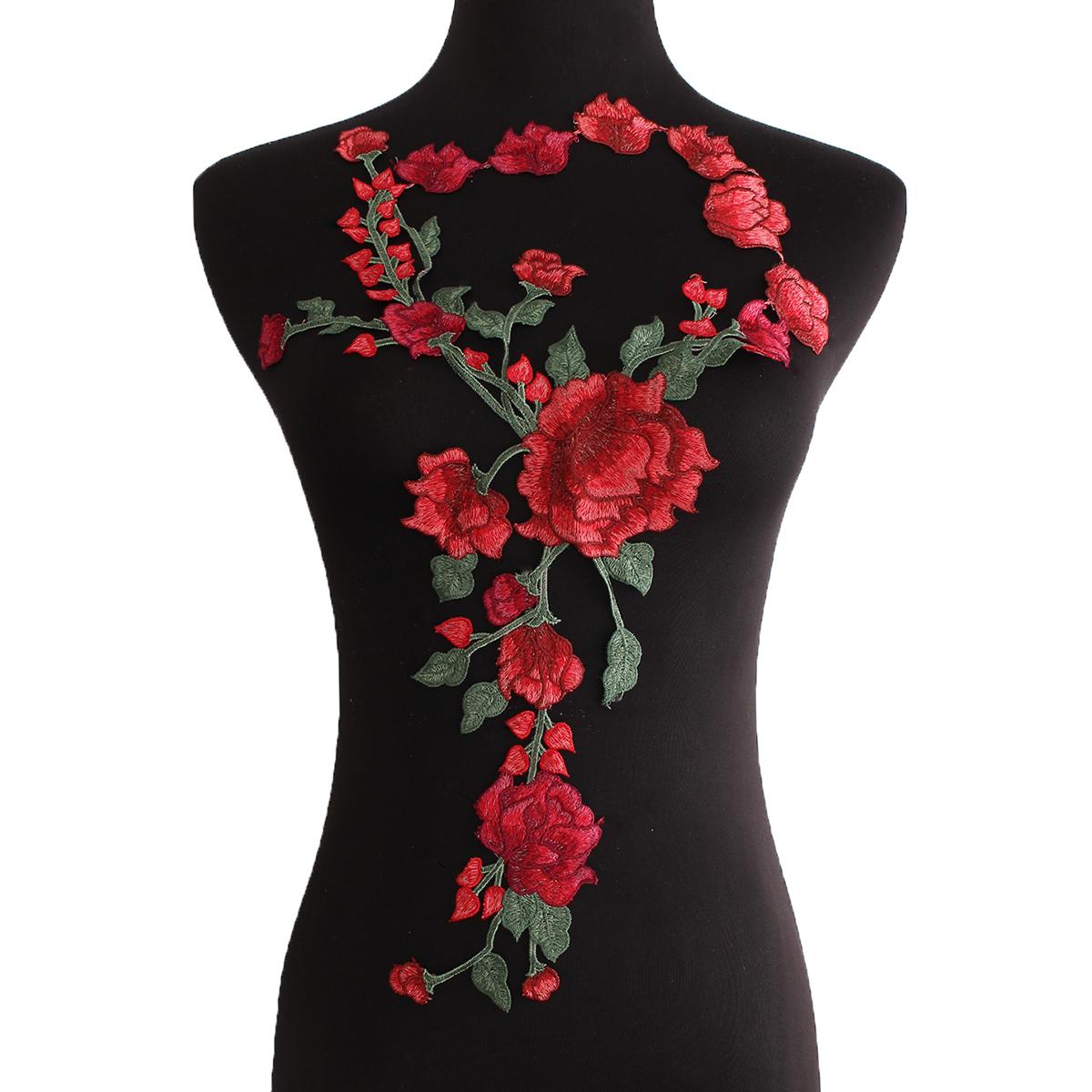 broderie ecusson patch thermocollant badge fleur rose tissu brod applique diy sur v tement. Black Bedroom Furniture Sets. Home Design Ideas
