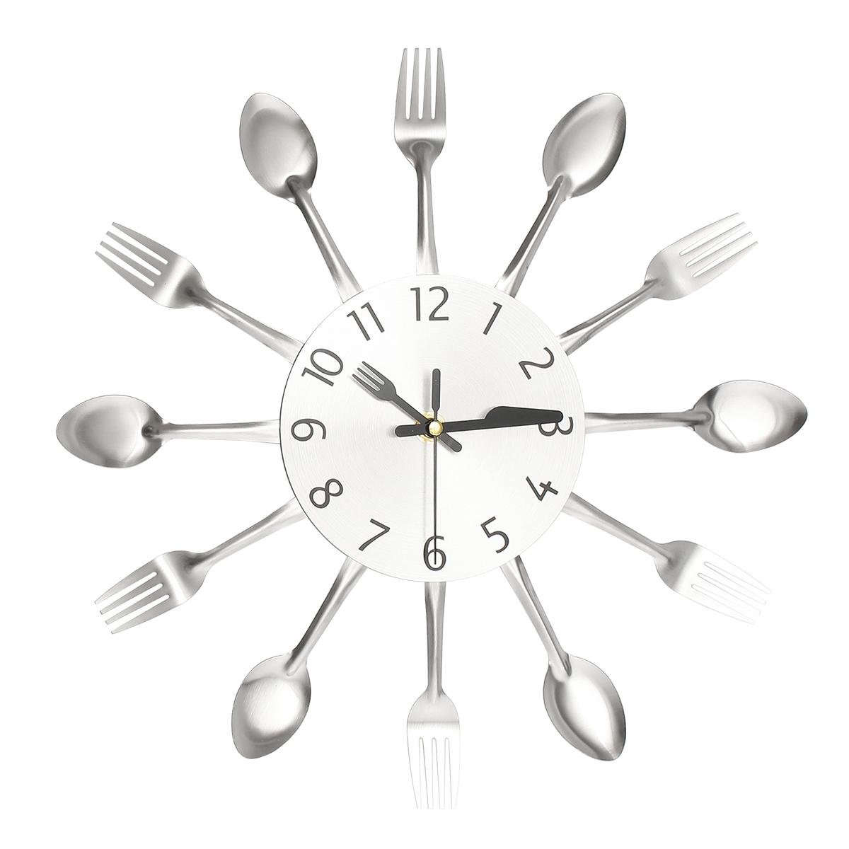 Horloge Mural Pendule Fourchette Cuillère Montre Clock Art Decor