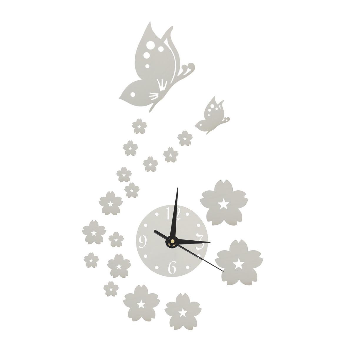 3d horloge murale papillon fleur sticker d cor maison art - Pendule murale papillon ...