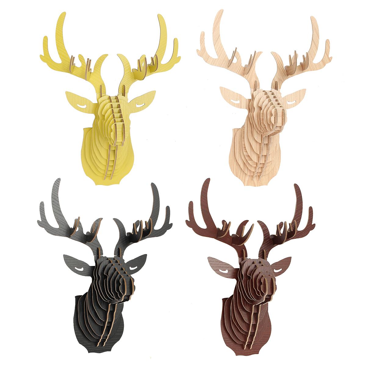 Diy 3d bois sculpture de t te de cerf murale orn d cor for Tete de cerf murale