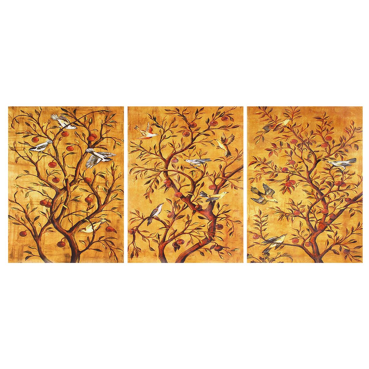 Klimt L Arbre De Vie Tableau tempsa 3pcs tableau peinture jaune moderne arbre pour décor