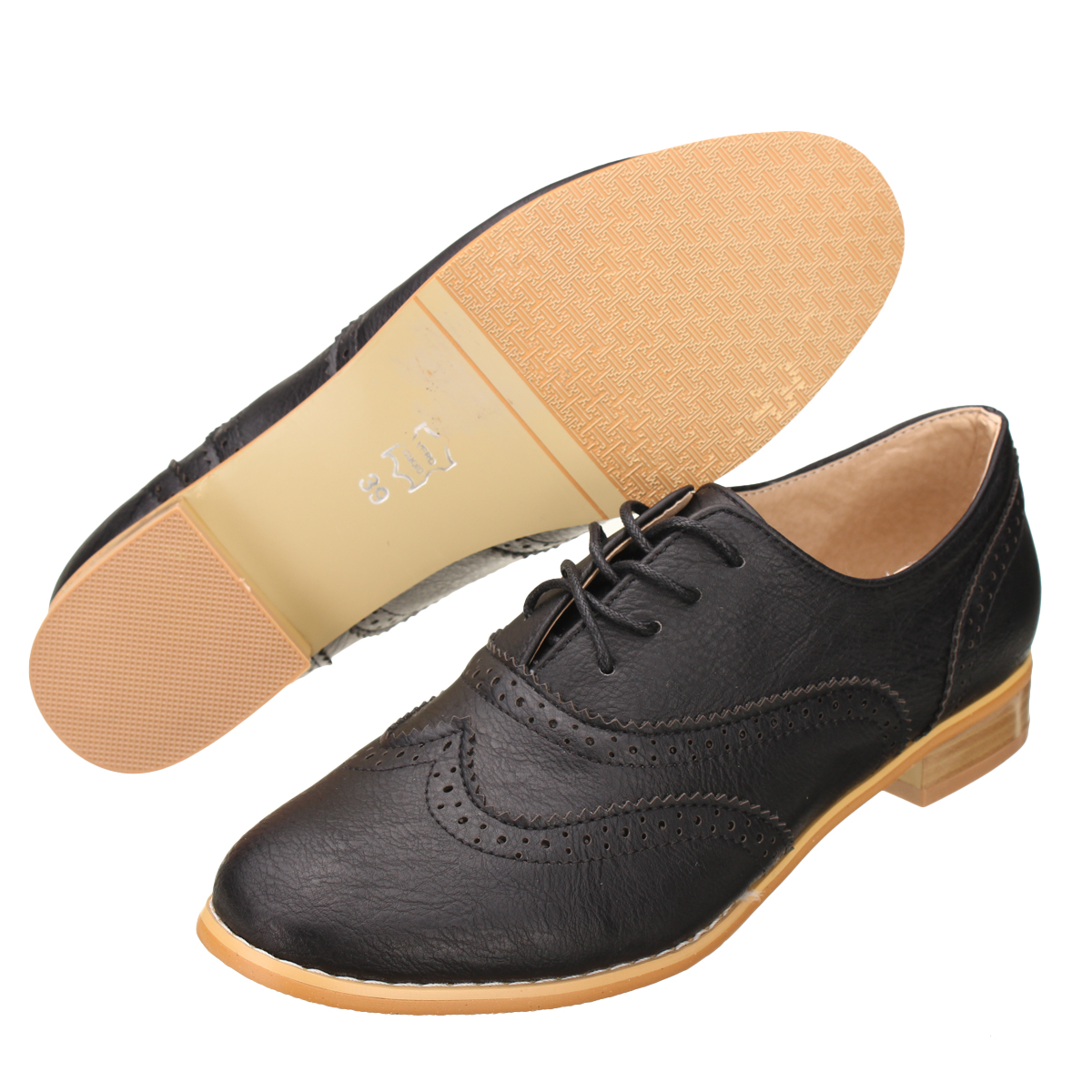 b5fd2009d6 Nis Women s Lace Up Wing Tip Oxfords College Style Student Flat Shoes Brogue  | 11street Malaysia - Ballerinas & Flats
